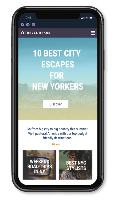 Personalized Content displaying on a mobile website. 10 best city escapes for New Yorkers.