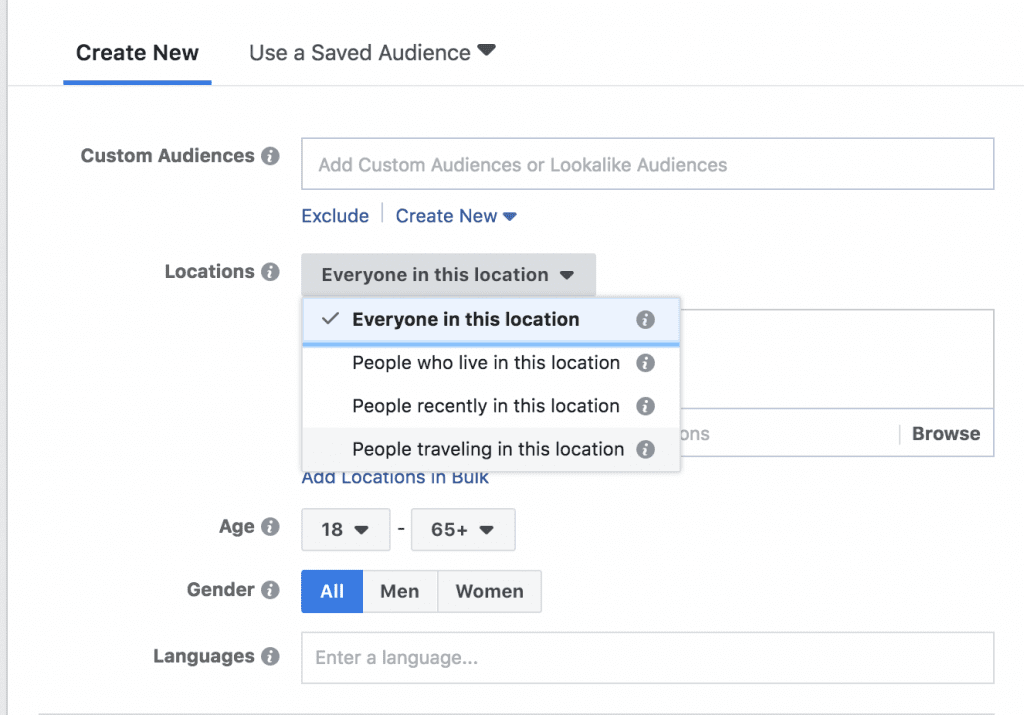 Facebook location options