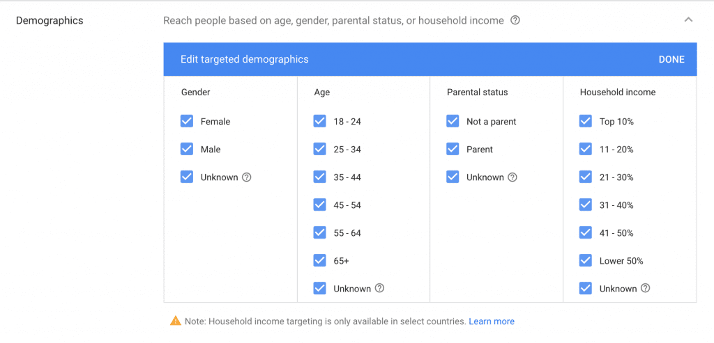 Demographic Targeting AdWords