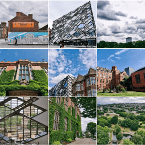 University of Sheffield's Instagram page from profile grid view. Involves campus architecture (bricks and ivy) and landscapes.