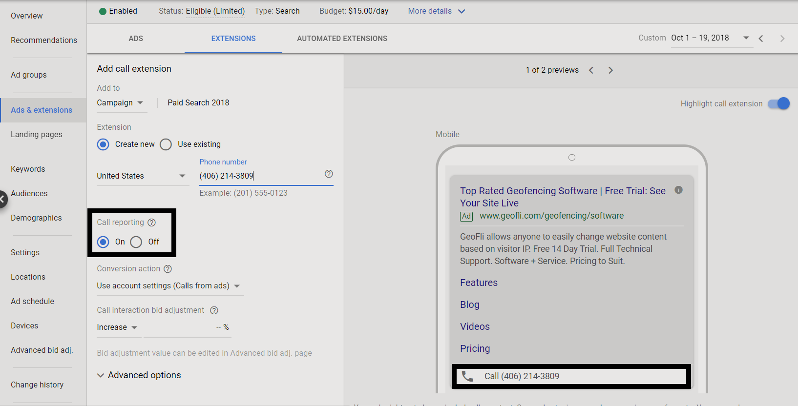 Creating new call extension on Google Ads campaign, enabling call tracking and featuring a mobile preview
