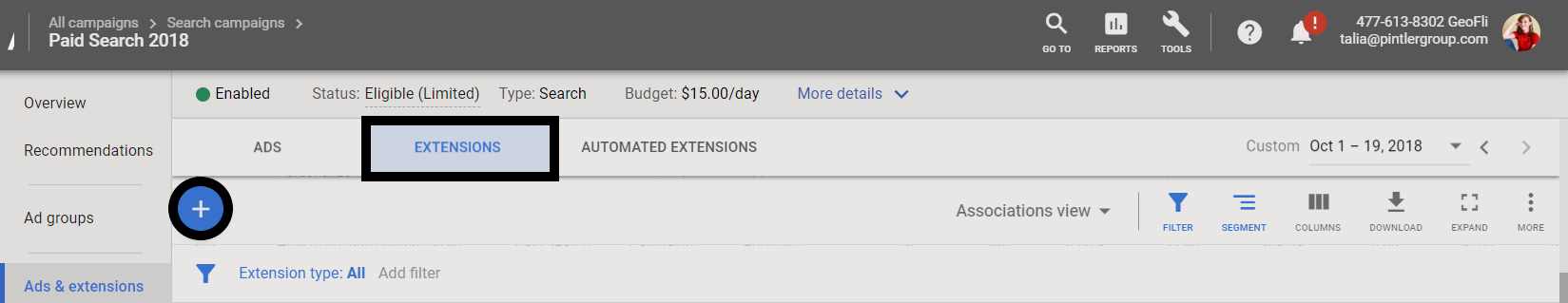 Creating call extension on Google Ads