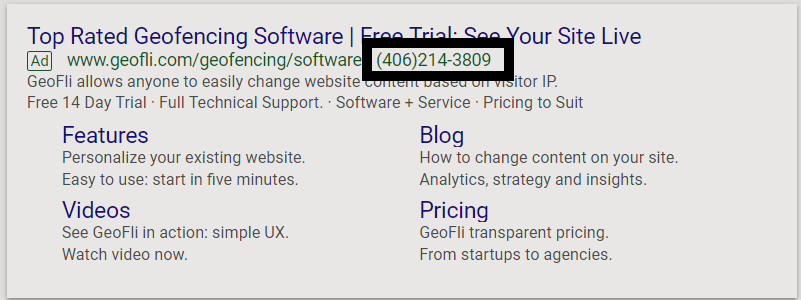 Google Ads desktop preview of search text ad featuring call extension