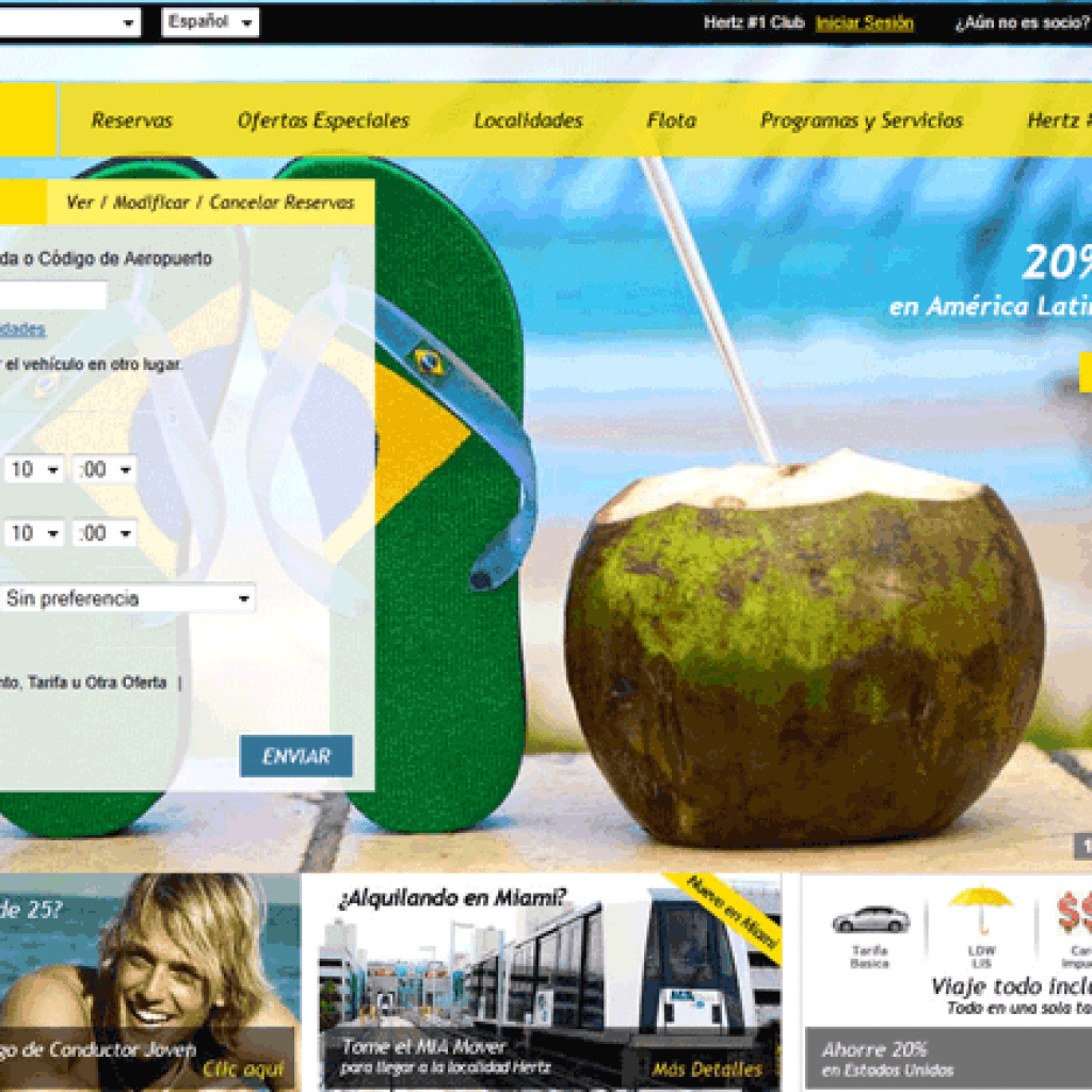 Hertz website personalized to appeal to users in Chile, changing language to Spanish and using local, tropical imagery.