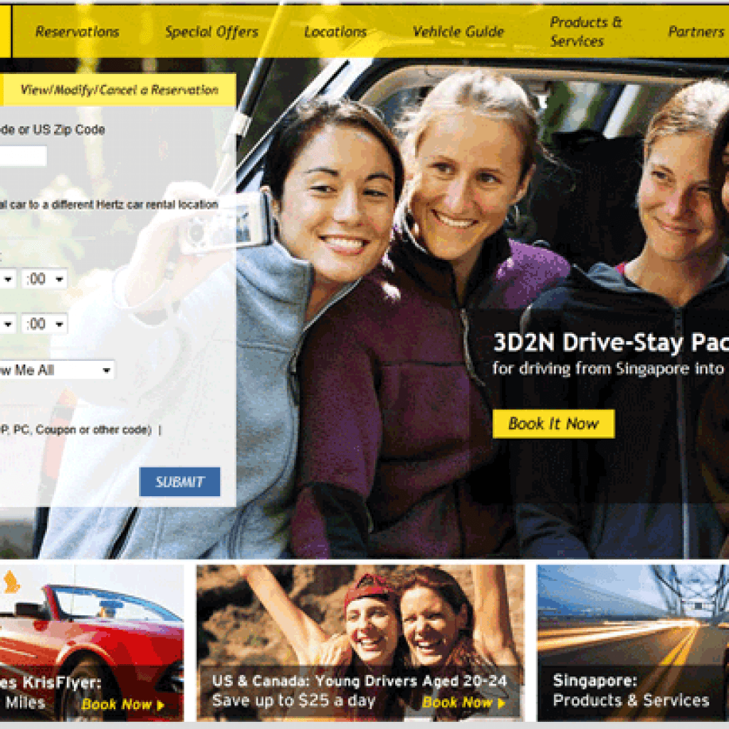 Hertz website personalized to appeal to users in the Singapore area, changing language to English and using local imagery.