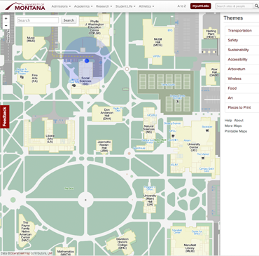 Screenshot of interactive map of the University of Montana campus, including oval, building names, user current location, and pathways.