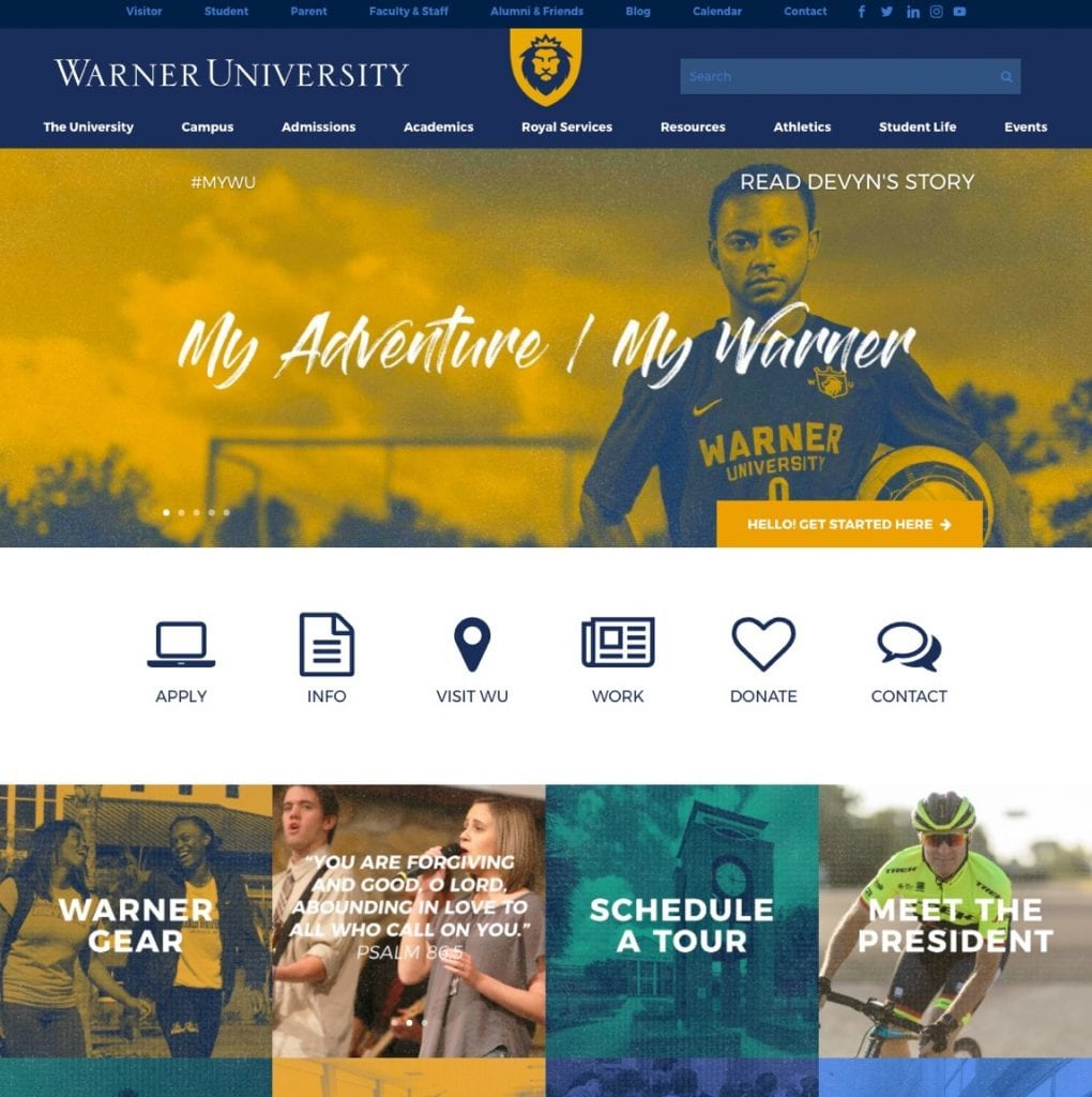 "A screenshot of Warner University's admissions page showcasing multiple buttons, such as ""Apply"" and ""Visit WU"", that give easy access to more information."