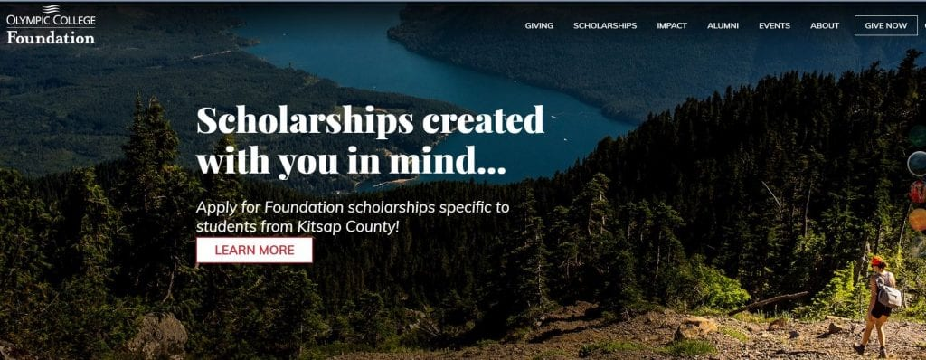 Olympic College Foundation showcasing scholarships specific to students from Kitsop County.