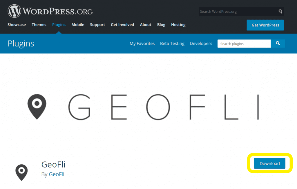 Screenshot of the GeoFli plugin download page.