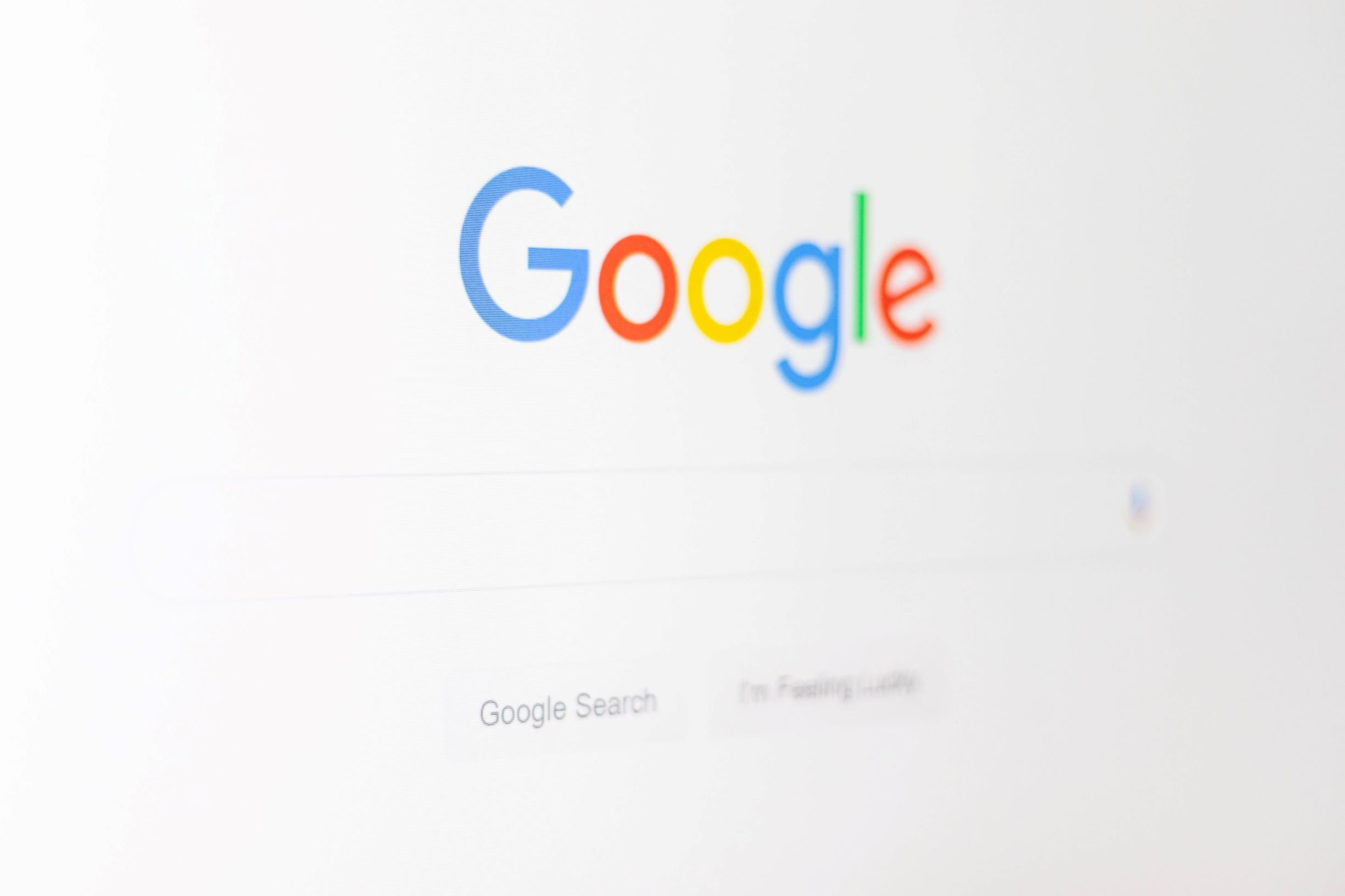 Google search engine homepage with search bar for users