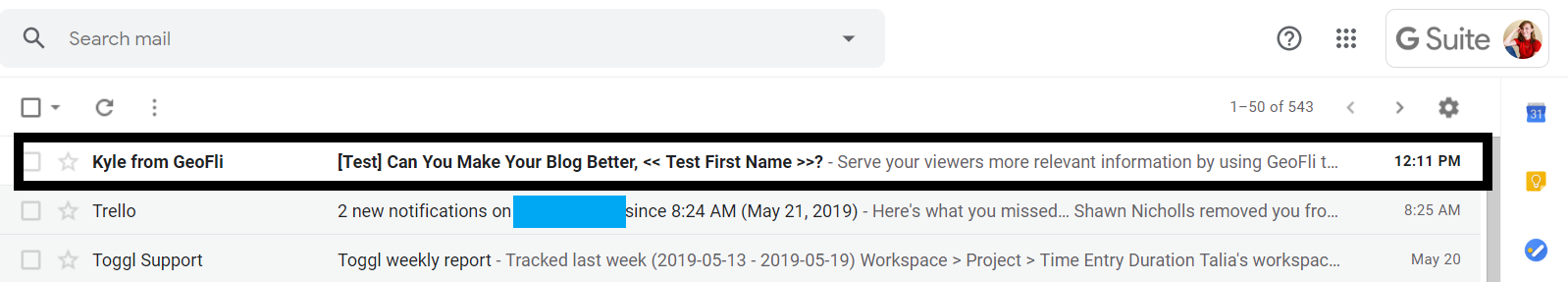 Screenshot of Gmail account with personalized email subject line featuring first name