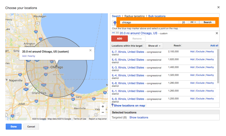 The first way to target messages based on location in AdWords is to simply select a location and a radius.