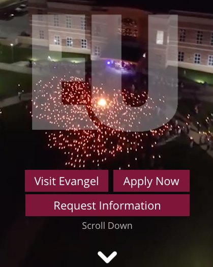 Evangel using a simplistic home page with a clear call to action.
