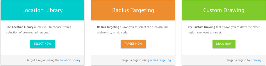 GeoFli dashboard of location targeting choices: Location library, Radius Targeting and Custom Drawing
