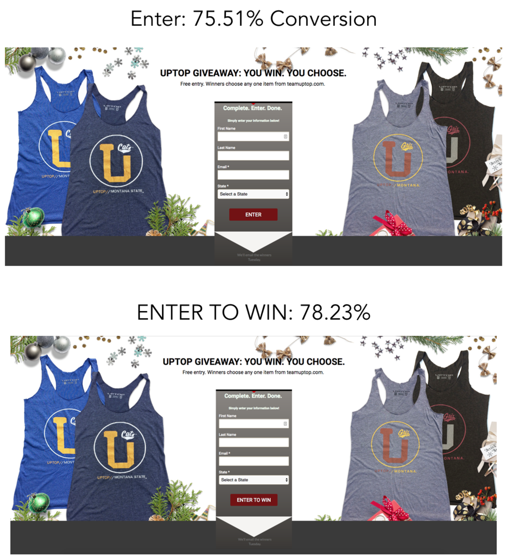 "Image comparing conversion rates when changing CTA button from ""Enter"" to ""Enter to Win"""