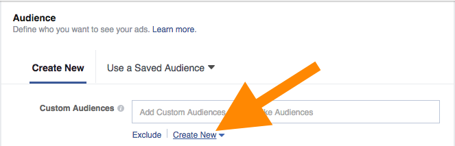 Creating a new custom audience