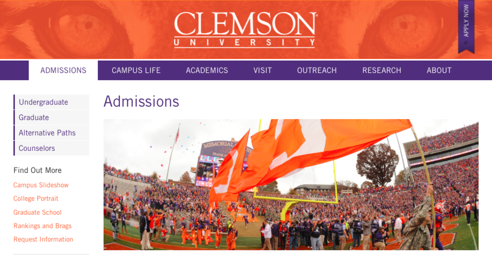 Clemson University creates a community environment on their simple, yet moving admissions page.
