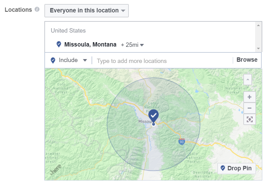 With IP Address marketing you can target specifically a 25 mile range around Missoula, Montana