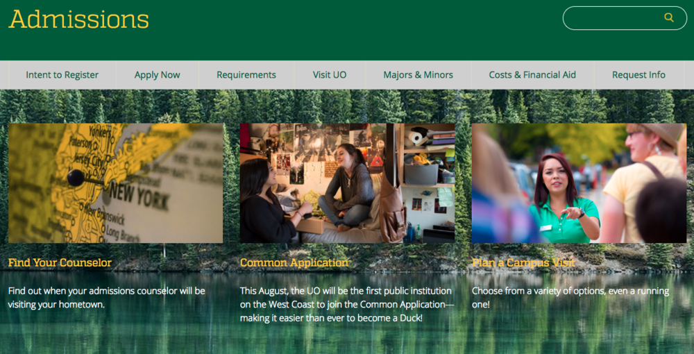 The University of Oregon uses their school colors of green and yellow across their admissions page