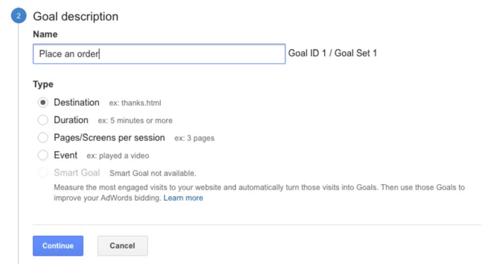"Google goal description listed as ""Place an order"""