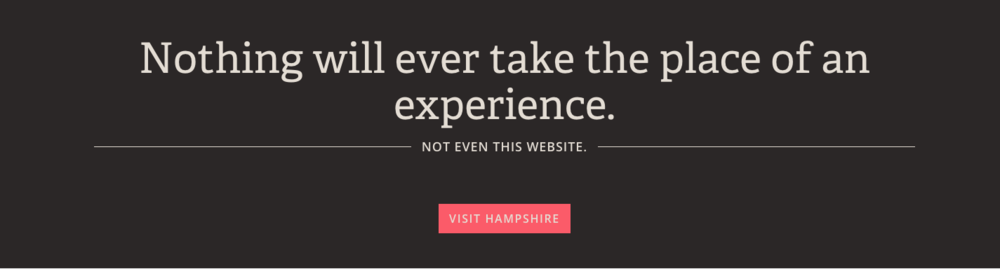 "Hampshire states, ""Nothing will ever take the place of an experience. Not even a website."""