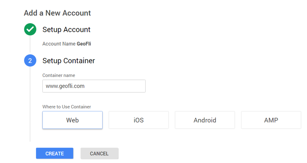 Setting up container for Google Tag Manager