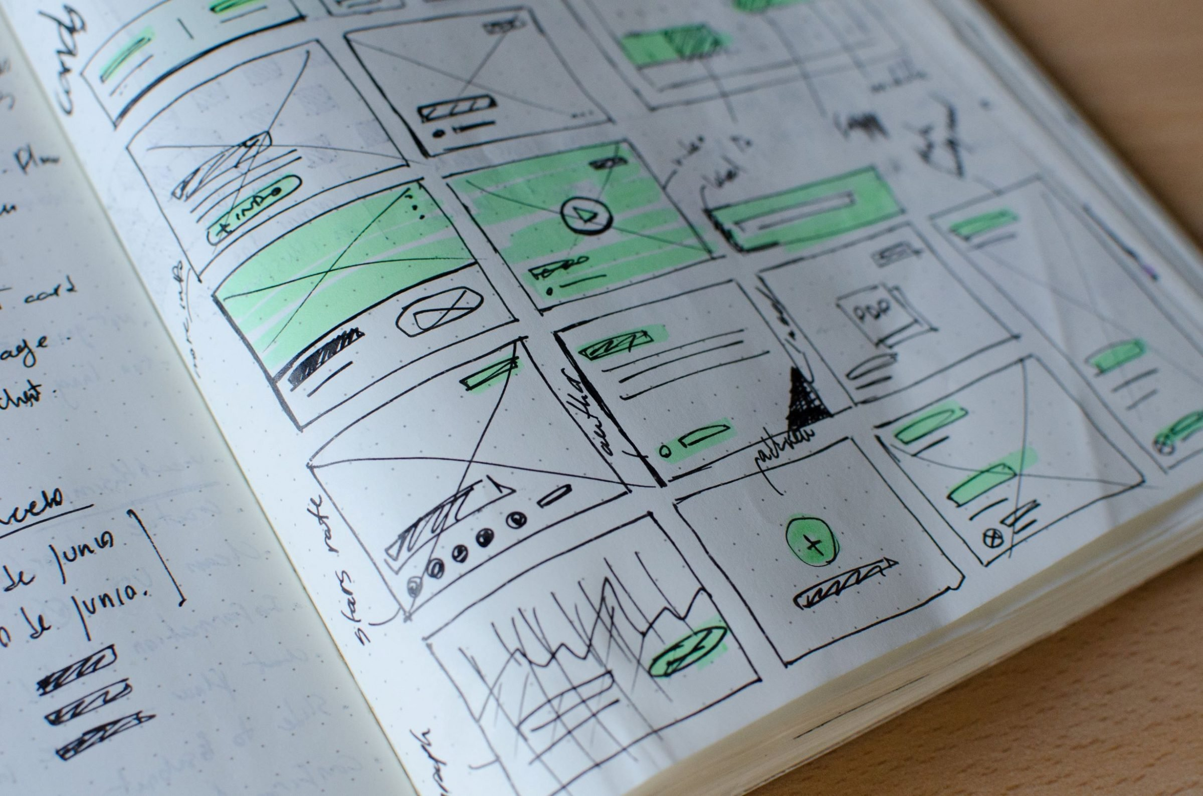 Notebook page with sketch of website structure